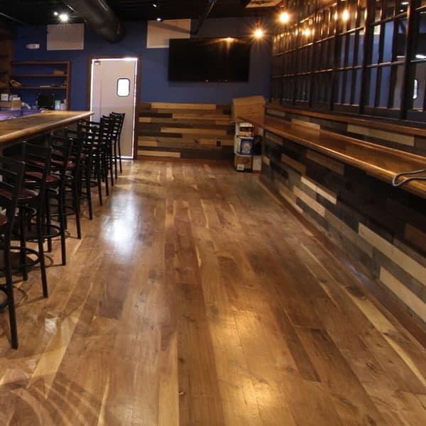 Sustainable Black Walnut Flooring at Bully Hill Tavern