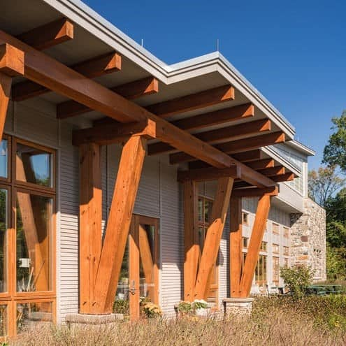 Willow School's Heart Pine Beams of Reclaimed Lumber for