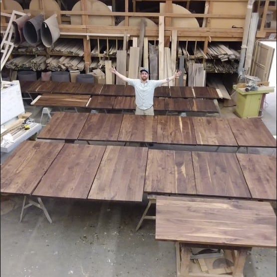 28 Black Walnut Tables for The Beam House by NEWT
