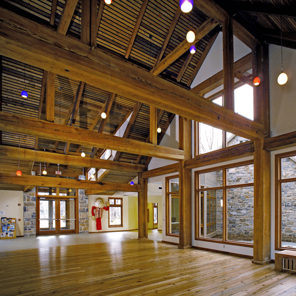 Reclaimed Heart Pine Beams in NJ's Willow School