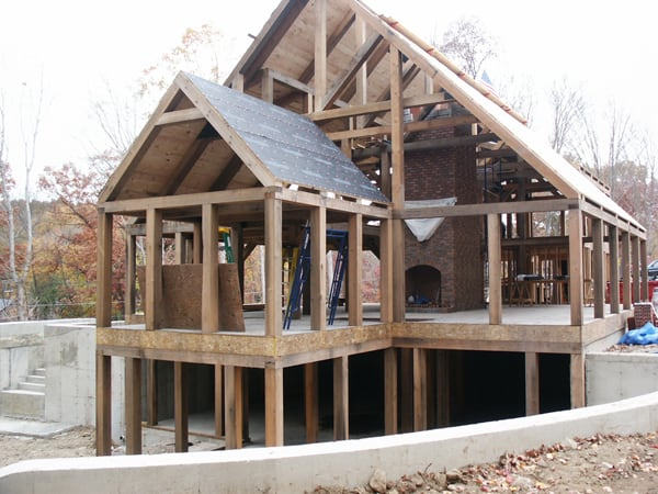 Barn beams used for building new timber frame home