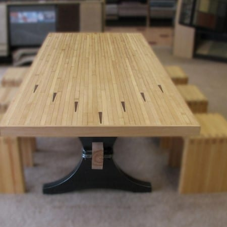 Bowling lane maple table