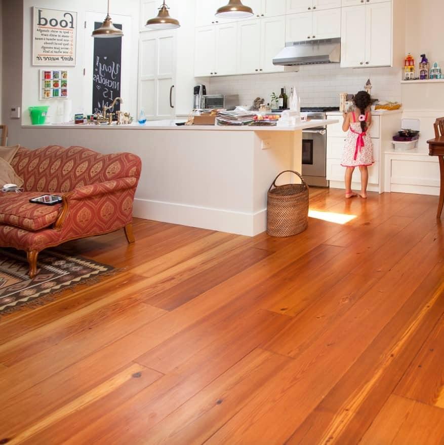 Flat Sawn Heart Pine Floor