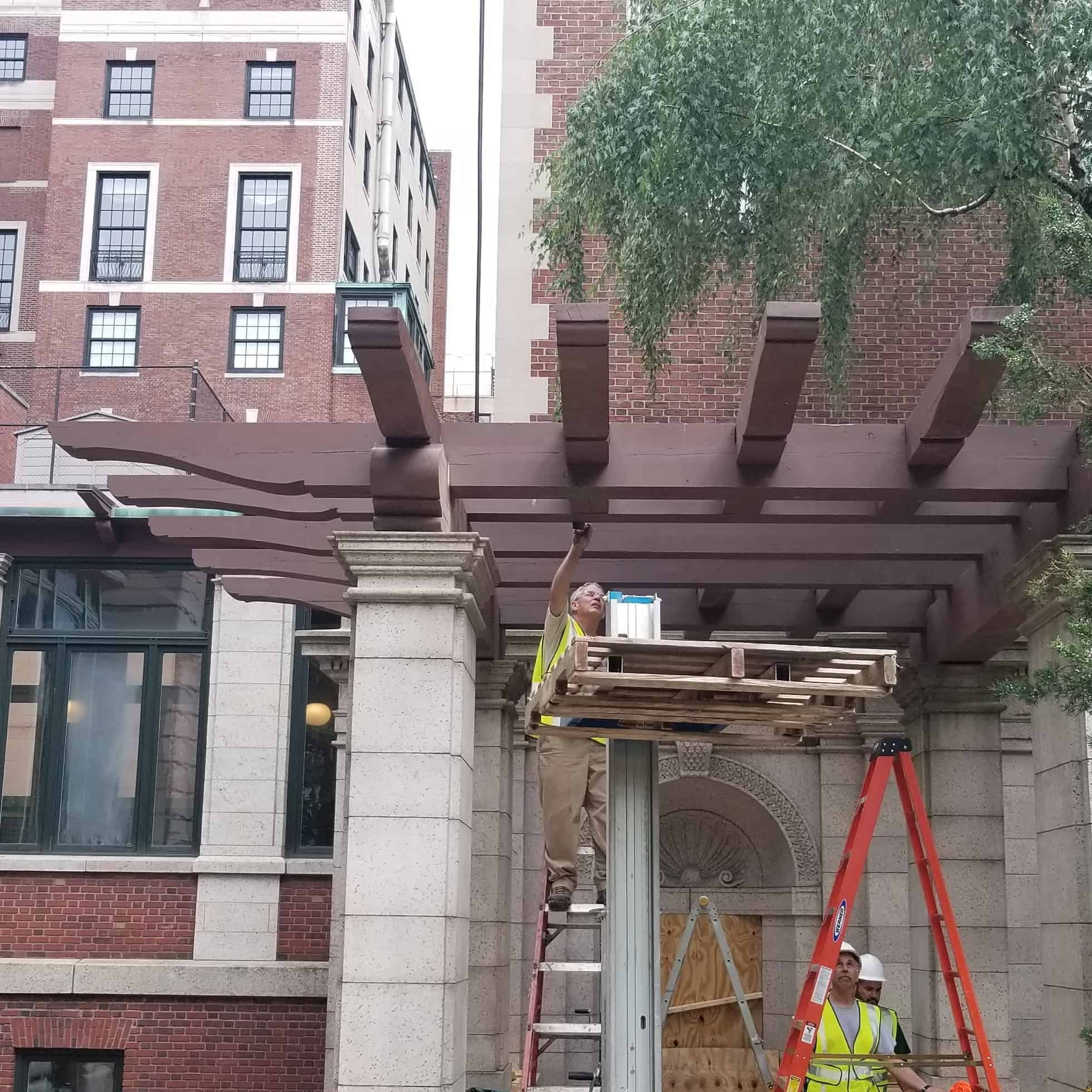 Western Red Cedar Reclaimed Telephone Poles as Pergola at Smithsonian